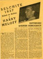 Belchite 1937 Killed in Action, Harry Meloff, Defending Spanish Democracy