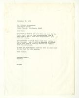 Barbara Haskell to Mr. Richard Diebenkorn, November 30, 1976