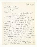 Charles Burchfield to John Baur, April 30, 1955