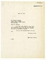 Associate Curator (Lloyd Goodrich) to Bertram Hartman, April 16, 1947