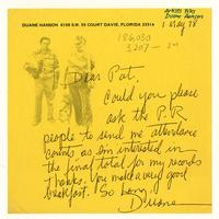 Duane Hanson to Pat, 1 May 78