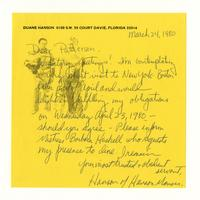 Duane Hanson to Patterson, March 24, 1980