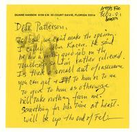 Duane Hanson to Patterson, Feb 2.81