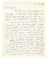 Charles Burchfield to John Baur; Feb. 26, 1956