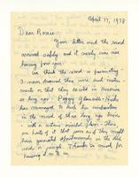 Charles Burchfield to Rosalind Irvine; April 17, 1958