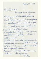 Bertha Burchfield to Rosalind Irvine, April 12, 1957