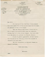 Letter requesting names and addresses of John B. Johnston supporters
