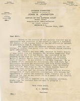 Letter from citizens committee supporting John B. Johnston