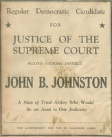 Newspaper advertisement for John B. Johnston