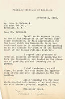 Letter from Brooklyn President Riegelmann to John R. McDonald
