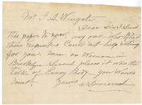 Handwritten letter to George A. Wingate