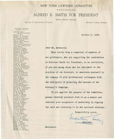 Letter from New York Lawyers Committee advocating Alfred E. Smith for president