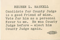 Re-elect Reuben L. Haskell card