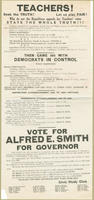 Asking teachers to vote for Alfred E. Smith