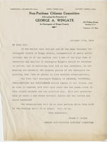 Letter from non-partisan citizens committee endorsing George A. Wingate