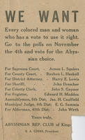 Abyssinian Republican Club handbill appealing to black voters