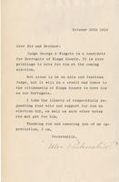 Rubinstein letter endorsing George A. Wingate