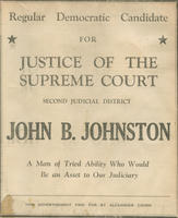 Poster advocating John B. Johnston for justice of the Supreme Court