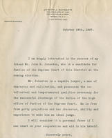 Schwartz letter supporting John B. Johnston