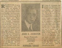 Promotional advertisement for John B. Johnston