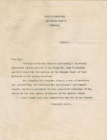 Singleton letter supporting John B. Johnston