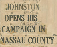 Flier promoting John B. Johnston campaign in Nassau County