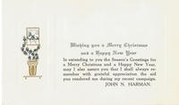 Christmas card from John N. Harman
