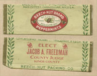 Beech-nut gum wrapper promoting Jacob A. Freedman for Kings County judge