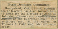 Brooklyn Times article on formation of John B. Johnston re-election committee