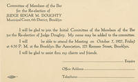 Response card for Judge Edgar M. Doughty