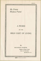 Pamphlet on the high cost of living