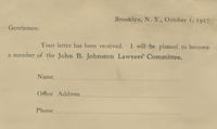 John B. Johnston Lawyers Committee campaign reply card
