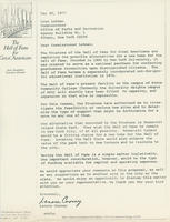 Correspondence regarding moving Hall of Fame to Roosevelt Island