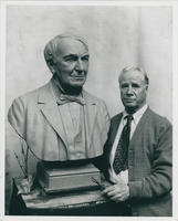 Thomas Edison bust with sculptor