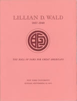 Lillian Wald unveiling ceremony pamphlet cover