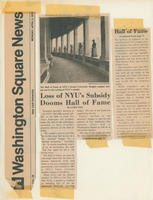 """Loss of NYU's Subsidy Dooms Hall of Fame"" article"