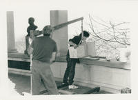 Installation of Franklin Roosevelt bust, affixing column