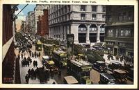 5th Ave. Traffic, showing Signal Tower, New York.