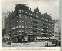 Nos. 1351 to 1369 Broadway, between Thirty-sixth and Thirty-seventh Streets. Marlborough Hotel - The Toggery Shop - Young's Hats - Harris and Co., Tailors - Crawford Shoe - A Jewelry Store - Sarnoff, Hats - and Regal Shoes at the corner of Thirty-seventh