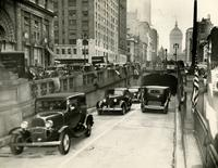 First cars to use Park Avenue Tunnel, Park Avenue and 33rd Street.
