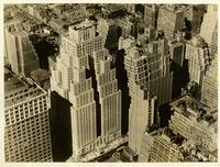 Air view of the Hotel New Yorker, New York's largest hotel, nearing completion. Eighth Avenue and 34th Street