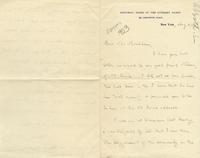 [Letter] 1903 August 8, New York [to] Mr. Markham