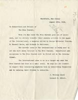 [Letter] 1912 August 15, Westfield, New Jersey [to] Subscribers and Friends of The Free Comrade