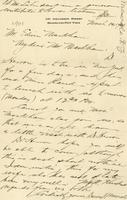 [Letter] 1901 March 10 [to] Mr. Markham