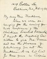 [Letter] 1915 February 22, Baltimore, Md. [to] Mrs. Markham