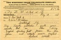 [Telegram] 1917 May 13, New York [to] Edwin Markham