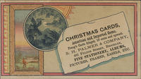 Christmas Cards, American and Imported Gems, Prang's Cards fringed, 10 cents and upward.
