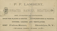 P.F. Lambert, Furnaces, Ranges Heaters, Set, Cleaned, and Repaired.