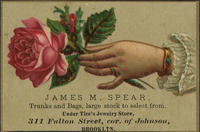 James M. Spear, Trunks and Bags, Large Stock to Select from. Under Tice's Jewelry Store.