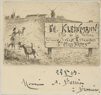 Trade card for Ed. Kleinmann 8, Rue de la Victoire